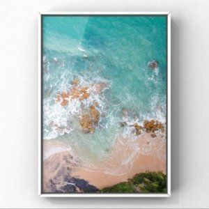 Aerial view of sea beach with pink sand art print
